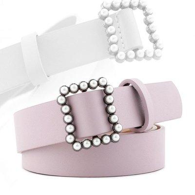 糖果色 珍珠 鑲崁 方釦 裝飾 好搭配 日字釦 皮帶 寬版腰帶【NR886】