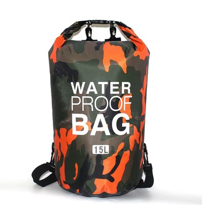 戶外用品迷彩單肩手提防水包袋15L溯溪包漂流袋防水桶包P131