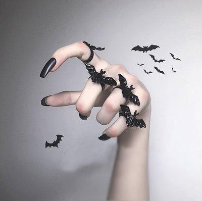【黑店】歐美個性蝙蝠開口戒指 可調節戒指 個性戒指 暗黑系飾品 萬聖節蝙蝠戒指 暗黑個性飾品 情侶戒指AC112