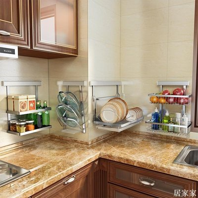精選 304不銹鋼免打孔廚房置物架子壁掛式收納掛件蔬菜掛籃 碗碟瀝水架