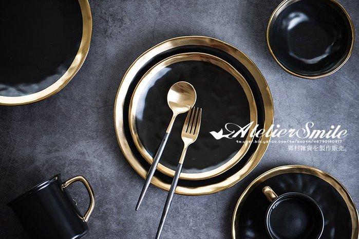 [ Atelier Smile ] 鄉村雜貨 北歐風  陶瓷黑金邊 餐盤 牛排盤 # 10吋盤  (現+預)