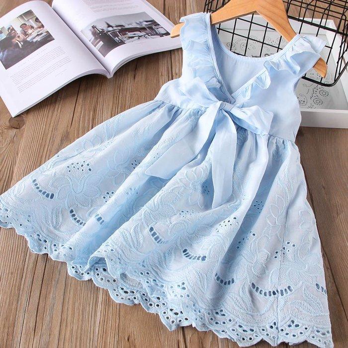 •*~ 辣媽咪衣飾小舖 ~*•❤童裝系列❤Y940409韓版兒童夏季甜美浪漫歐美風鏤空刺繡背心裙洋裝