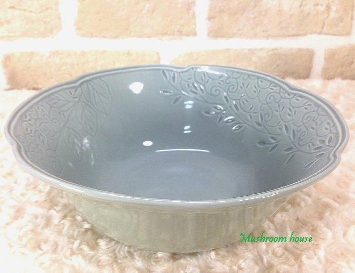 點點蘑菇屋 義大利WALD經典立體雕花大地色系列手繪高溫陶瓷(天空灰色)沙拉碗 小碗公 湯碗 陶瓷碗 現貨