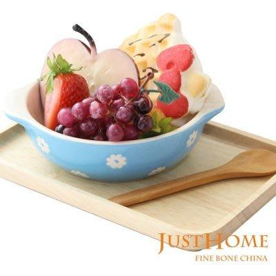 【無敵餐具】可愛小花藍色橢圓陶瓷烤皿 ...