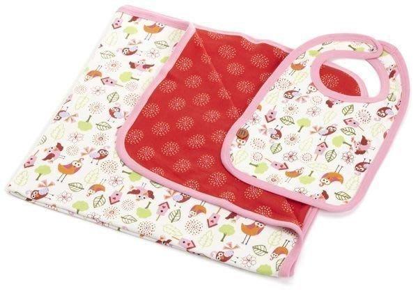 【Nichole's歐美進口優質童裝】Mini Bamba雙面嬰兒被+圍兜二件組 攜帶被/娃娃車蓋被 彌月禮