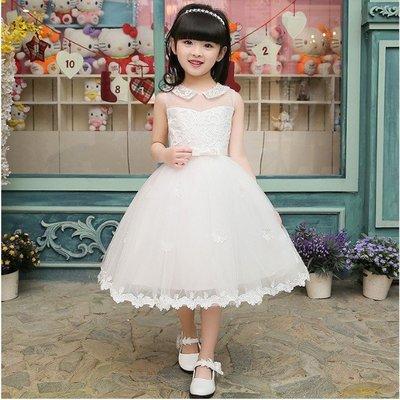 兒童婚紗禮服公主裙中大童主持人鋼琴演出服女童生日晚禮服蓬蓬裙