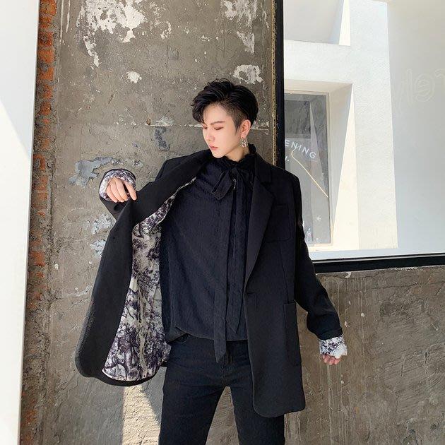 FINDSENSE 2019 秋冬上新 G19  暗黑復古黑色氣質西裝外套男裝百搭寬鬆休閒外套