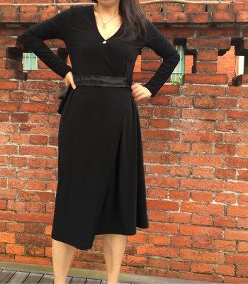 二手黑色交叉綁帶蝴蝶結洋裝,長袖連身裙 圍裹式洋裝