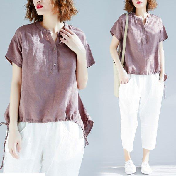 短袖褲裝◎ 女人心語 ◎中大尺碼 寬鬆棉麻上衣+褲子二件套裝(預) CK-BC-P-T