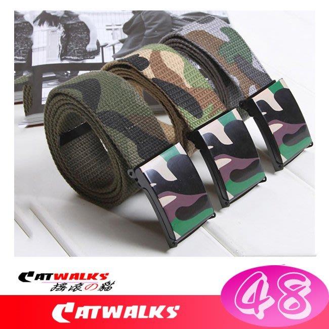 台灣現貨  * Catwalk's 搖滾の貓 * 韓版潮流休閒風迷彩時尚帆布腰帶 ( 軍綠、灰色、卡其 )