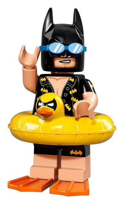 無外袋【LEGO 樂高】Minifigures人偶系列: 蝙蝠俠電影人偶包抽抽樂71017 | #5 渡假蝙蝠俠+游泳圈