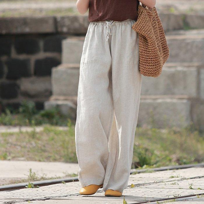 【鈷藍家】棉麻臆想 亞麻直筒褲鬆緊腰休閒寬褲麻色闊腿褲女垂感顯瘦原麻色褲子