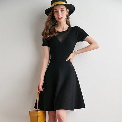 ☆TANG KOREA*╮正韓 香香風蕾絲拼接收腰針織連身裙小黑裙