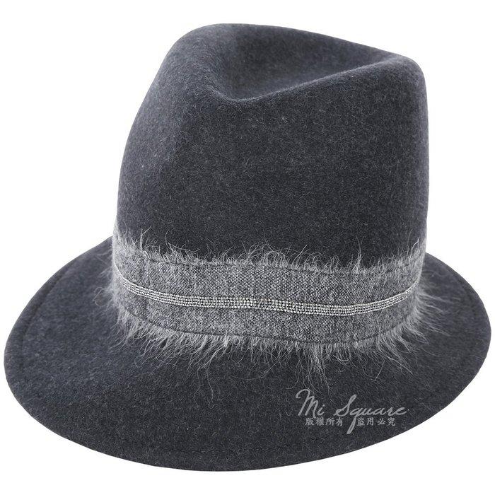 米蘭廣場 FABIANA FILIPPI 馬海毛深灰珠飾羊毛紳士帽 1810046-11