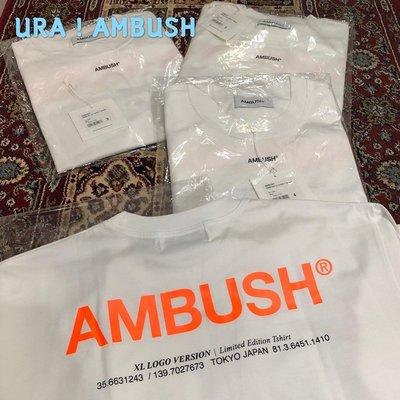【URA 全新現貨】 2019 AMBUSH XL LOGO T-SHIRT 白橘/黑粉/藍黃/棕粉/粉色 短TEE
