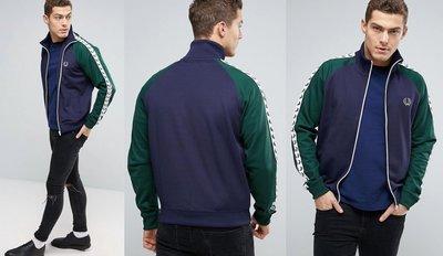 ◎美國代買◎ASOS代買FredPerrylogo裝飾綠色袖長拼接藍色復古經典雙色logo夾克外套~大尺碼~歐美街風~