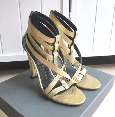 國際精品Pierre Balmain 真品 Glod Salvia Sandals Strappy High Heel
