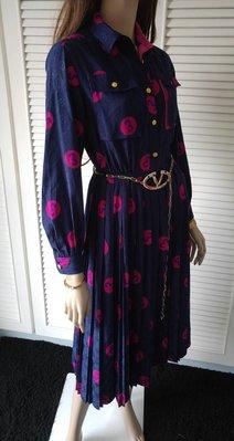 LOUIS VUITTON LV  90 年代 紫藍色長袖開釦襯衫式百褶裙洋裝 不包括Valentino腰帶