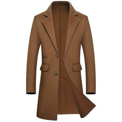 毛呢大衣 長版風衣-純色西裝領商務修身男外套4色73wk35[獨家進口][米蘭精品]