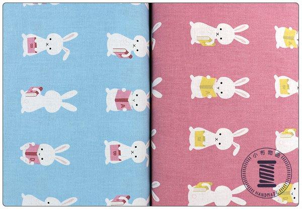 ✿小布物曲✿ 可愛兔子印花布 100%純棉 窄幅110CM 韓國進口布料質感優 共4色 單價/1尺