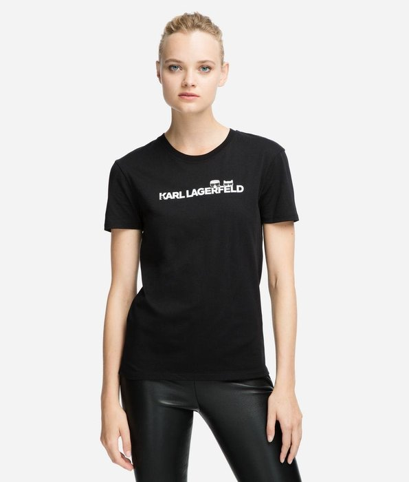 [預購XS-L] Karl Lagerfeld 女成Q版卡爾與愛貓logo短袖T恤 白/黑/綠/灰四色 運費優惠 其他尺寸款式可留言詢問