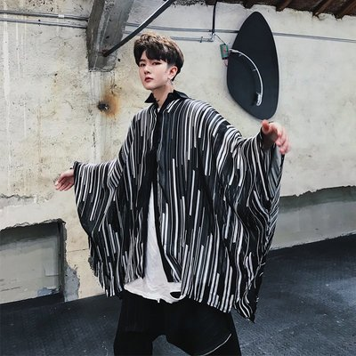 襯衫 韓版 夏季薄款防曬衣蝙蝠袖薄款條紋嘻哈潮流ovresize男裝時尚潮流襯衫