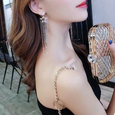 新款飾品925銀針星星長款流蘇耳環女韓國氣質個性百搭夸張網紅耳釘耳墜