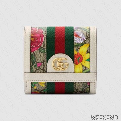 【WEEKEND】 GUCCI Ophidia GG Flora 花朵 皮夾 短夾 零錢包 白色 598662 20春夏