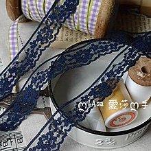『ღIAsa 愛莎ღ手作雜貨』(90cm)花邊輔料娃娃花邊台灣產深藍色滌綸蕾絲花邊寬2.1cm