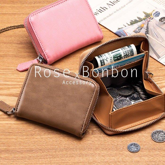 日本男女真皮防盜RFID防拉鍊零錢包 硬幣收納分類  立體錢包 復古牛皮 素色方型Rose Bonbon