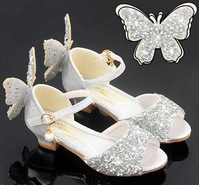 小中大女童涼鞋 閃亮公主鞋 大童夏季高跟鞋 兒童水晶鞋 生日禮物—莎芭