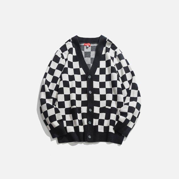 FINDSENSE 2019 秋季上新 G7 經典黑白格紋開衫毛衣 男裝 中性上衣