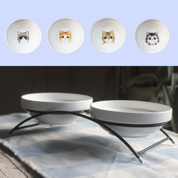 寵物陶瓷貓碗狗碗雙碗套裝配鐵架貓狗食盆雙水碗雙食盆寵物用品