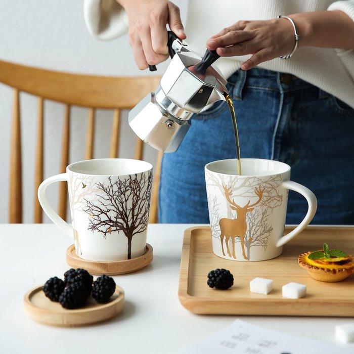 奇奇店-圣誕麋鹿描金陶瓷馬克杯水杯情侶杯茶杯辦公室咖啡杯B-83#簡約 #輕奢 #格調