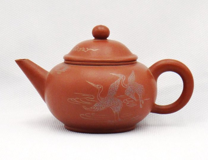 慧羽軒-(金鼎商標)朱泥描金水平壺~約250c.c.
