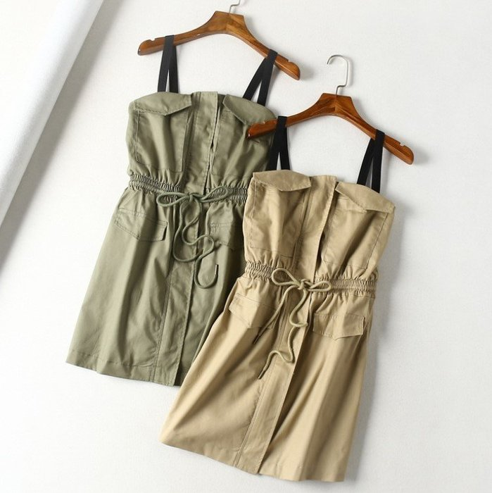 *TOMA*J4847 歐美女裝新品 撞色雙肩帶 抽繩綁帶鬆緊腰 雙口袋 多蓋片飾 A字裙短裙 吊帶裙洋裝*二色