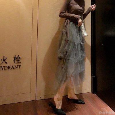 好物多商城 春秋季新款網紗半身裙chic韓版高腰裙子中長款顯瘦A字裙女裝