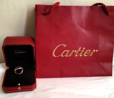 Cartier Trinity 白黃玫瑰三色金三環戒