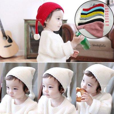 Q媽 秋冬季新款兒童針織帽子 寶寶毛線辮子套頭帽 小孩球球護耳帽 保暖帽