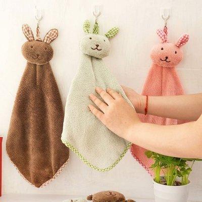 掛式可愛小兔子珊瑚絨擦手巾 浴室廚房 擦手布 毛巾 方巾
