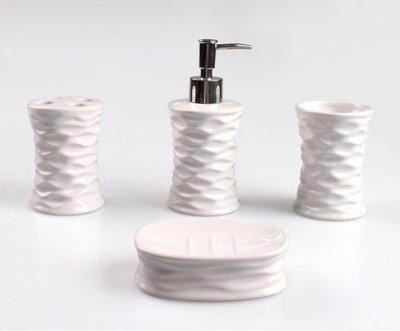 【現貨速寄】*送贈品* 歐式高貴陶瓷家居衛浴四件組 漱口杯牙刷架肥皂盒乳液瓶 - 象牙白 - 過年 CBAS00161