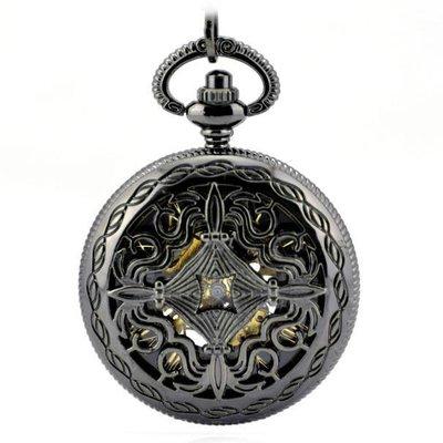 古代銅錢版 槍黑色 機械懷表 復古 鏈 時尚男女士禮品手表