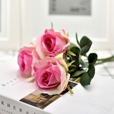 高仿花韓式仿真玫瑰花單支絹花現代裝飾花插花假花客廳擺設花藝