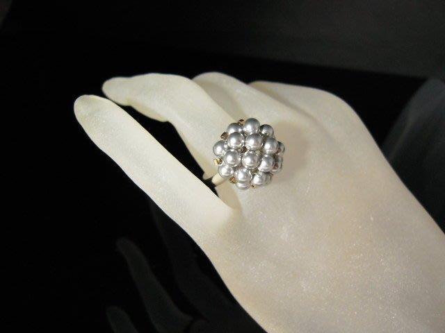 ※水晶玫瑰※ SWAROVSKI 水晶珍珠戒指~ 淺銀灰(HAND41)