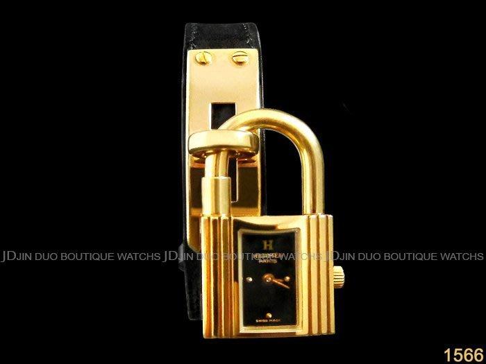 金鐸精品~1566 HERMES 愛馬仕 Kelly系列 金色鎖頭造型 石英女錶