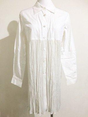 日本品牌日本製 Sissy 白色長袖襯衫 長版上衣 下半身薄紗百褶