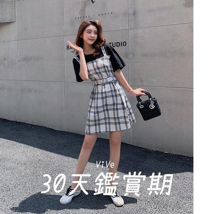 實拍 洋裝 腰背 夏季 韓版 休閒 連衣裙 假兩件 顯瘦 格子 帶裙 新款 2BCD6E