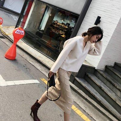 《巴黎拜金女》大V領澳洲雙面羊毛白色短外套雙面呢上衣