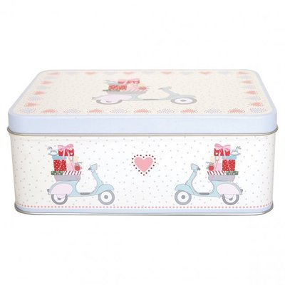 GreenGate Rectangle Tin Box - Scooter White (Limited Edtion)