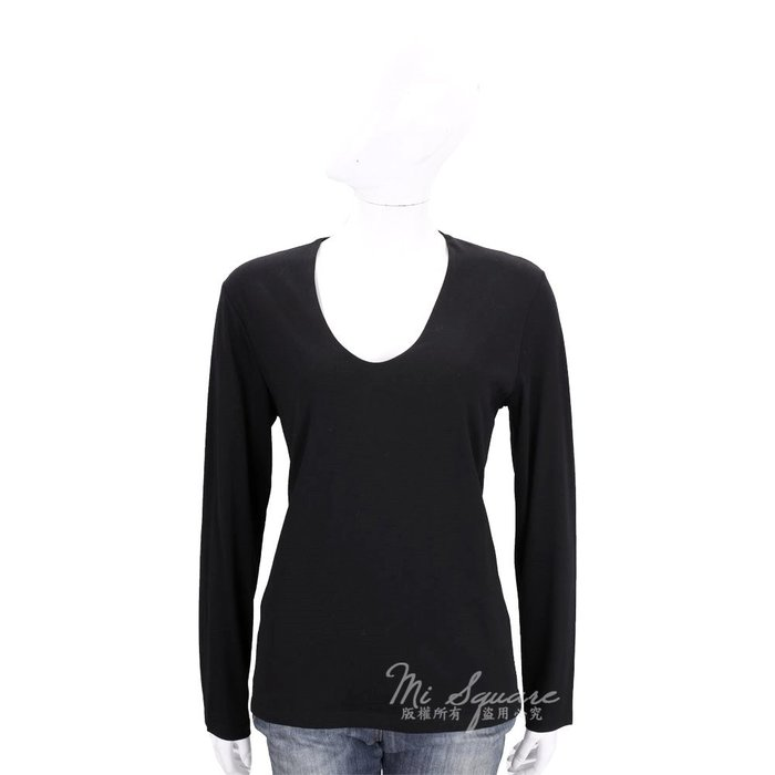 米蘭廣場 ALLUDE 黑色U領素面棉質長袖上衣 1710078-01 M號